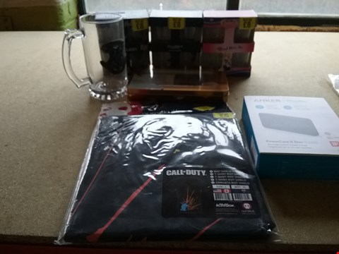 Lot 9014 7 ASSORTED BRAND NEW ITEMS TO INCLUDE A CALL OF DUTY RIOT T-SHIRT, 4 DEATH NOTE SHOT GLASSES AND A POWERCORE 22 SLIM PORTABLE CHARGE