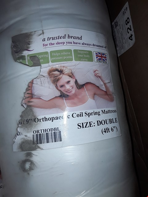 Lot 12006 BAGGED AND ROLLED DESIGNER ORTHOPAEDIC COIL SPRING DOUBLE MATTRESS