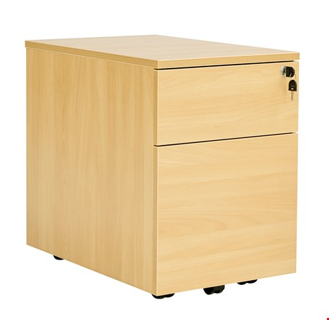 Lot 12064 BRAND NEW BOXED WORKMODE 2 DRAWER LOW MOBILE PEDESTAL - OAK