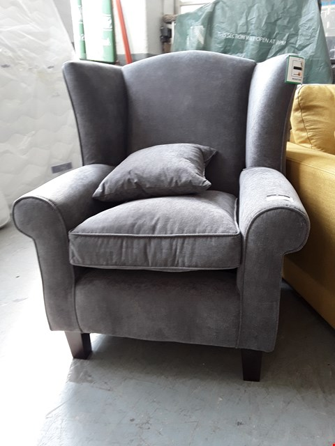 Lot 111 DESIGNER CHARCOAL FABRIC COMPACT WING BACK ARMCHAIR