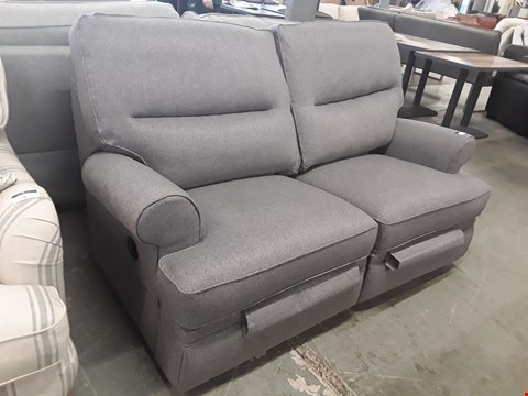 Lot 8 QUALITY BRITISH DESIGNER GREY WEAVE FABRIC MANUAL RECLINING 2 SEATER SOFA