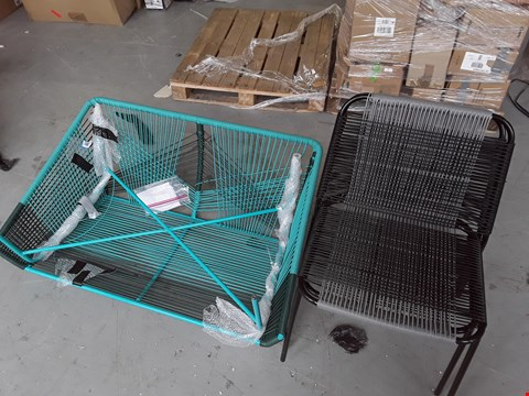 Lot 682 SET OF OUTDOOR GARDEN FURNITURE INCLUDES 2-SEATER IN TEAL AND 2 GREY CHAIRS