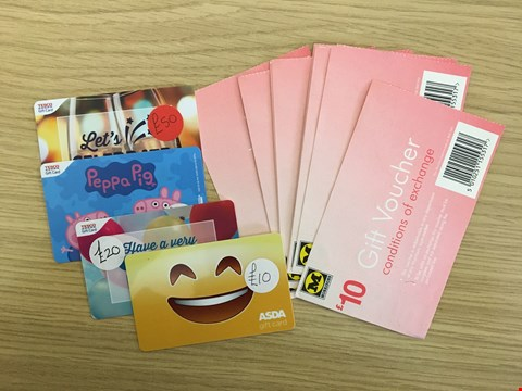 Lot 11 19 ASSORTED SUPERMARKET GIFT VOUCHERS, INCLUDING MORRISONS, TESCO AND ASDA.  TOTAL VALUE £280
