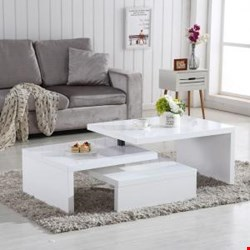 Lot 2506 DESIGN COFFEE TABLE ROTATING IN WHITE HIGH GLOSS WITH 3 TOPS ( 1BOX)