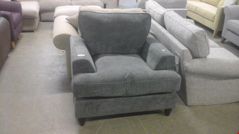 Lot 1237 DESIGNER GREY FABRIC ARMCHAIR