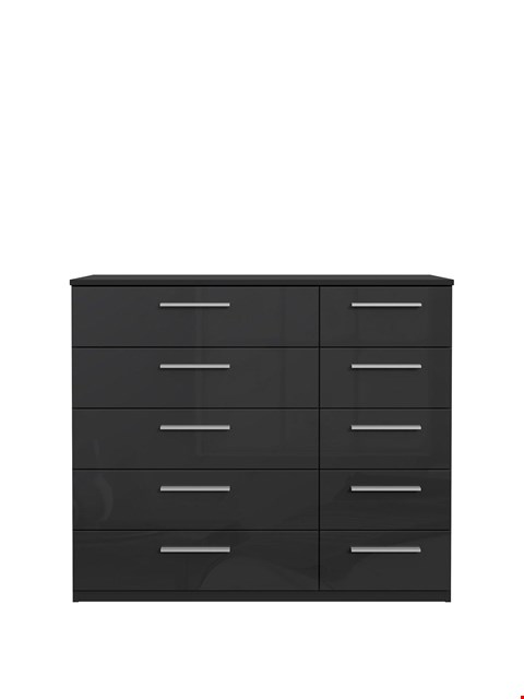 Lot 7178 BRAND NEW BOXED WESTBURY BLACK GLOSS 5 + 5 WIDE CHEST (2 BOXES) RRP £199.00
