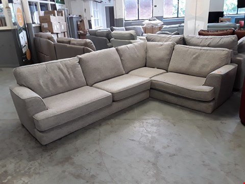 Lot 154 QUALITY BRITISH DESIGNER NATURAL WEAVE FABRIC CORNER SOFA