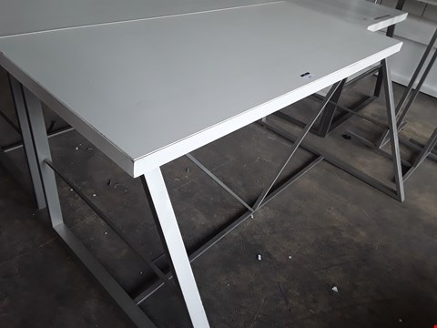 Lot 2057 LARGE METAL FRAMED WHITE WORK TABLE