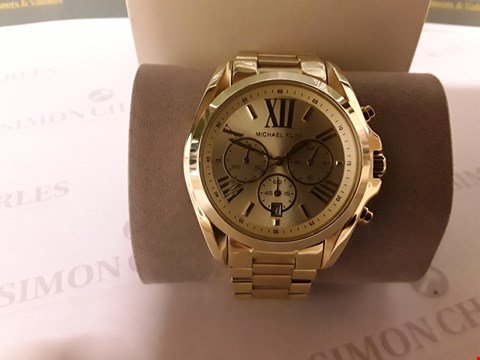 Lot 95 MICHAEL KORS GOLD CHRONOGRAPH DIAL GOLD STAINLESS STEEL BRACELET LADIES WATCH RRP £319.00