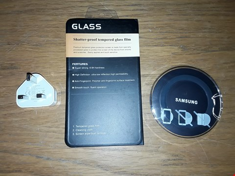 Lot 8202 BOX OF APPROXIMATELY 40 ASSORTED PHONE ACCESSORY ITEMS TO INCLUDE USB MAINS CHARGER ADAPTER, A SAMSUNG WIRELESS CHARGER, SHATTER-PROOF TEMPERED GLASS FILM ETC