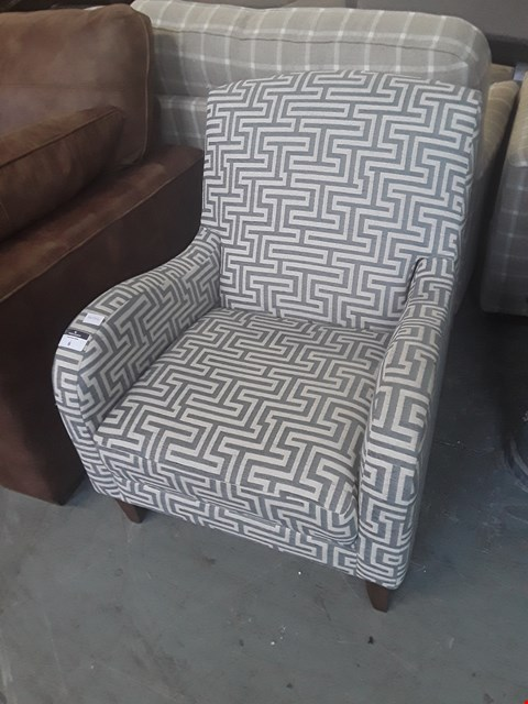 Lot 6 QUALITY BRITISH DESIGNER GEOMETRIC PATTERN COMPACT ARMCHAIR