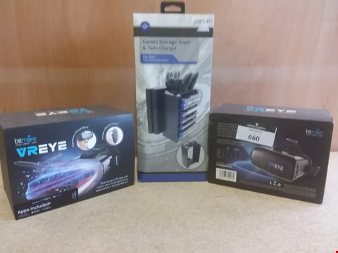 Lot 660 3 BRAND NEW BOXED ITEMS TO INCLUDE 2 VREYE VIRTUAL REALITY HEADSETS AND A GAMES STORAGE TOWER