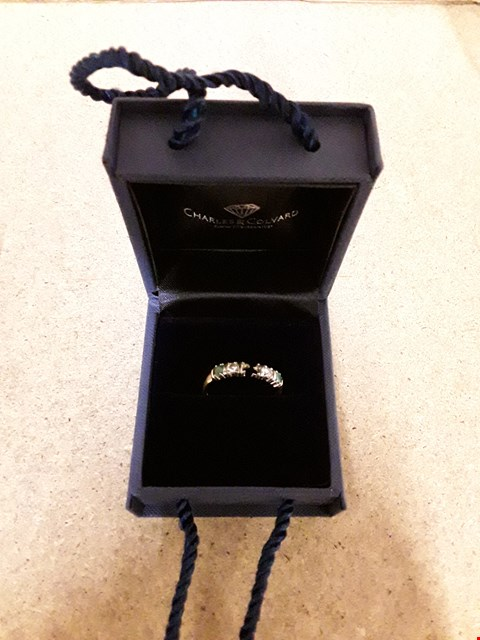 Lot 2227 9CT GOLD 1CT EQ EMERALD AND MOISSANITE BAR SET 5 STONE RING RRP £349