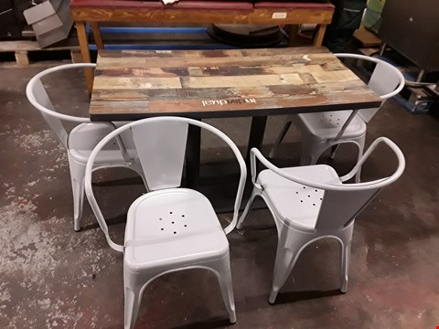 Lot 215 BRAND NEW RUSTIC LOOK CAFE STYLE DINING TABLE WITH DECAL OVERLAY AND 4 GREY METAL CHAIRS - TABLE SIZE 120X60CM