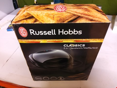 Lot 22 BOXED RUSSELL HOBBS CLASSICS 3 IN 1 SANDWICH / WAFFLE GRILL