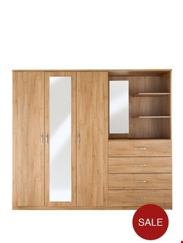 Lot 476 BOXED PERU 3-DOOR 4-DRAW COMBI WARDROBE  (4 BOXES) RRP £369.99