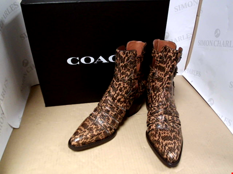 Lot 7134 COACH PHOEBE STUDDED SNAKE PRINT RUST CUT OUT ANKLE BOOTS - SIZE 7 UK