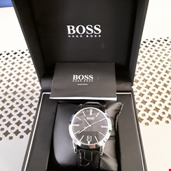 Lot 62 BOXED HUGO BOSS BLACK FACED WRIST WATCH ON BLACK STRAP