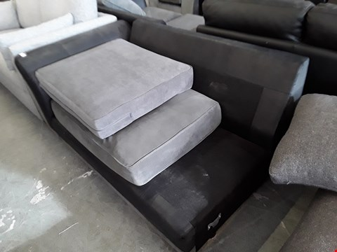 Lot 31 DESIGNER BLACK FAUX LEATHER AND GREY FABRIC SOFA SECTION