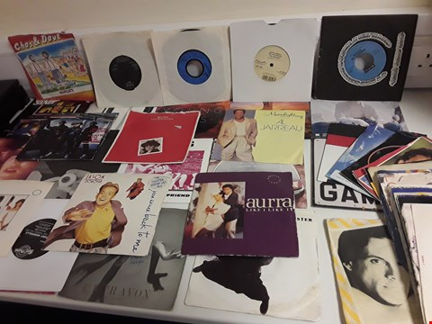 """Lot 1166 LOT OF APPROXIMATELY 40 ASSORTED 7"""" VINYL RECORDS TO INCLUDE RUN DMC, THE HUMAN LEAGUE ETC"""