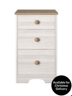 Lot 249 BOXED WINDSOR 3 DRAWER GRADUATED BEDSIDE CABINET ( 1 BOX )  RRP £129.00