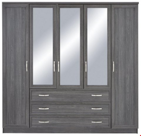 Lot 7018 BOXED GRADE 1 CAMBERLEY WHITE 5 DOOR 3 DRAWER MIRRORED WARDROBE (3 BOXES)