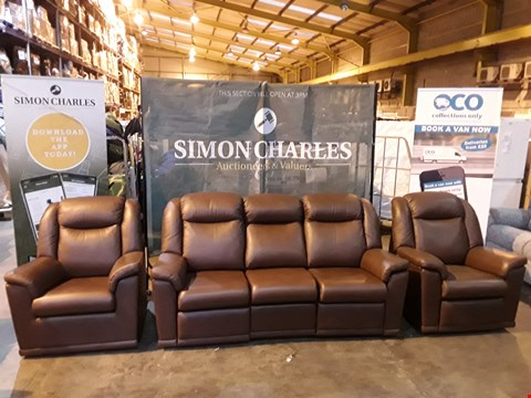 Lot 9005 QUALITY BRITISH MADE HARDWOOD FRAMED BROWN LEATHER THREE PIECE SUITE CONSISTING OF A THREE SEATER POWER RECLINING SOFA, POWER RECLINING ARMCHAIR AND FIXED FRAME ARMCHAIR