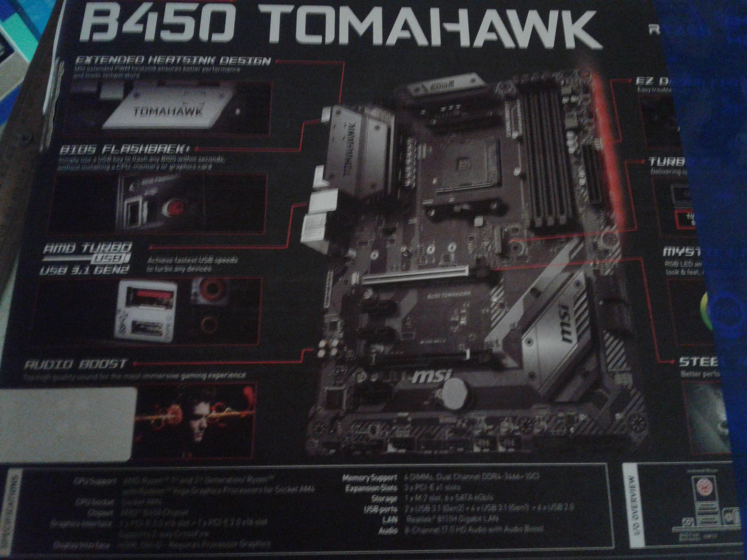 Lot 10102: MSI B450 TOMAHAWK AMD MOTHERBOARD