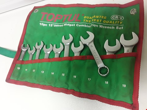 Lot 4297 TOPTUL 10 PIECE METRIC MIDGET COMBINATION SPANNER SET IN CANVASS ROLL