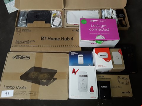 Lot 91 LOT OF APPROXIMATELY 12 ASSORTED TECH AND CONNECTIVITY ITEMS TO INCLUDE NOW TV HUB2, VODAPHONE MOBILE R207 AND BY HOME HUB 4