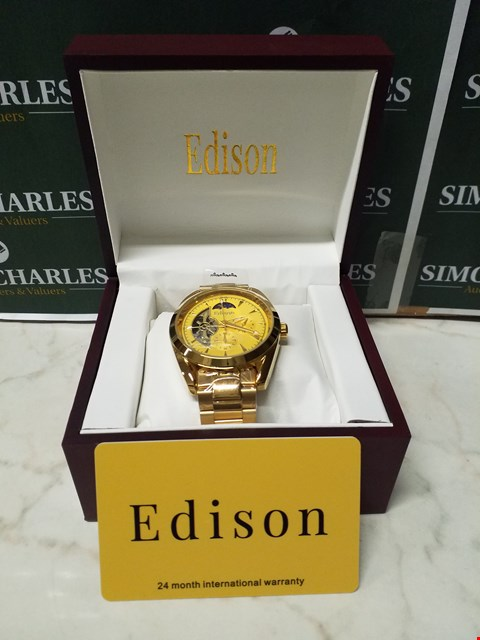 Lot 4550 EDISON GOLD EFFECT METAL BODY AND WRIST STRAP AUTOMATIC CHRONOGRAPH WATCH