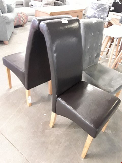 Lot 66 PAIR OF DESIGNER BROWN FAUX LEATHER DINING CHAIRS