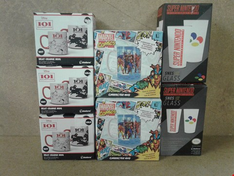 Lot 474 7 BRAND NEW ASSORTED MUGS TO INCLUDE DISNEY DALMATIANS , MARVEL COMIC AND SUPER NINTENDO GLASSES