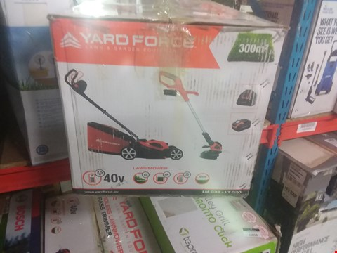 Lot 10057 YARD FORCE 32CM ROTARY CORDLESS LAWNMOWER AND GRASS TRIMMER TWIN PACK WITH LITHIUM-ION 40V BATTERY