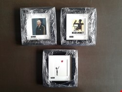 Lot 1 THREE FRAMED ROSS MUIR SIGNED AND MOUNTED MINUATURE GICLÉE PRINTS, INCLUDING SQUARE GOGH AND BANGKSY