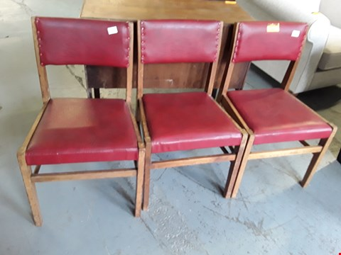 Lot 201 SET OF 3 RED LEATHER DINING CHAIRS BY CUMBRAE FURNITURE