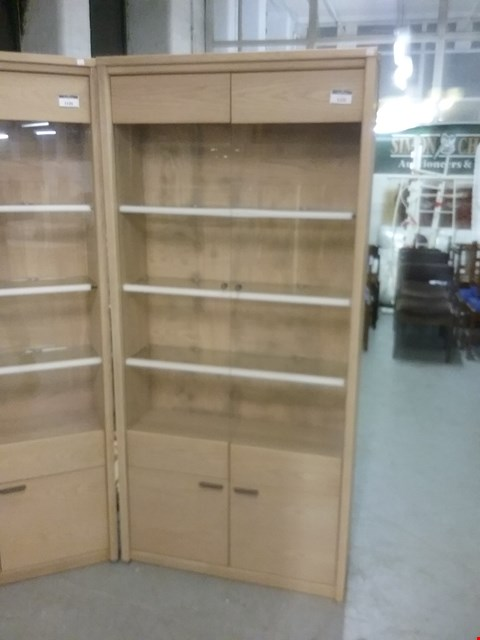 Lot 1260 DESIGNER OAK DISPLAY UNIT WITH GLASS SHELVES AND LIGHTS RRP £1150.00