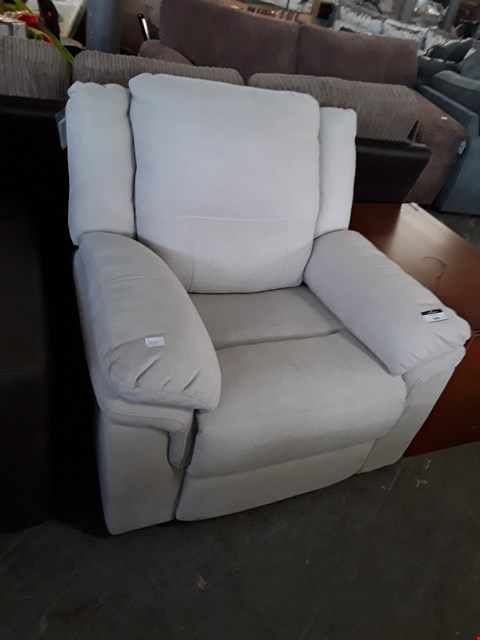 Lot 340 DESIGNER BEIGE FABRIC MANUAL RECLINING ARMCHAIR