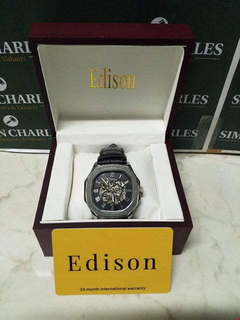 Lot 4553 EDISON ROMAN NUMERAL STAINLESS STEEL DIAL SKELETON WATCH WITH BLACK LEATHER WRIST STRAP