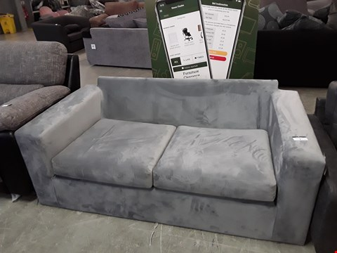 Lot 5 DESIGNER LIGHT GREY PLUSH VELVET 2 SEATER SOFA