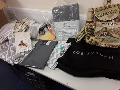 Lot 438 BOX ASSORTED MATERIAL, EMBROIDERED BAG, ZOE JORDAN BLACK BAG, FITTED SINGLE SHEET, LA REDOUTE COTTON QUILT COVER 240 × 220cm