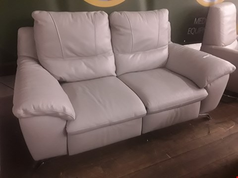 Lot 626 QUALITY ITALIAN GREY LEATHER UPHOLSTERED PUGLIA TWO SEATER POWER RECLINING SOFA