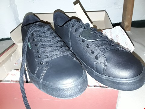 Lot 24 BOXED PAIR BLACK LACED TRAINERS IN THE STYLE OF KICKERS size 45