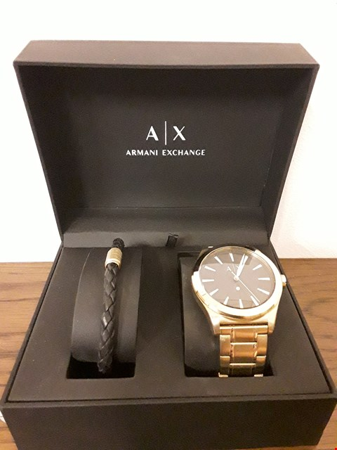 Lot 346 BOXED ARMANI EXCHANGE SMART GOLD PLATED WRIST WATCH AND BRACELET