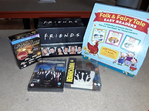 Lot 4101 JOB LOT OF ASSORTED CD/DVD BOXSETS , BOOKS AND GAMES TO INCLUDE FRIENDS,  FAST AND FURIOUS,  DOWNTON ABBEY(4 BOXES)