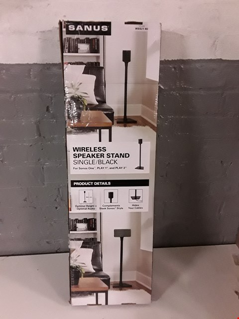 Lot 8013 SANUS WSS21-B2 WIRELESS SPEAKER STAND SINGLE-BLACK FOR SONOS ONE RRP £49.95