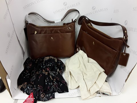Lot 799 BOX OF 4 ASSORTED DESIGNER CLOTHING AND ACCESSORY ITEMS TO INCLUDE DESIGNER LONG SLEEVE TOP, 2 ASHWOOD BROWN FAUX LEATHER HANDBAGS ETC