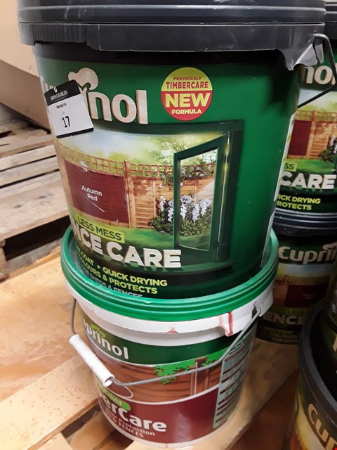 Lot 17 FOUR TUBS OF CUPRINOL AUTUMN RED FENCECARE 9 LITRES RRP £88