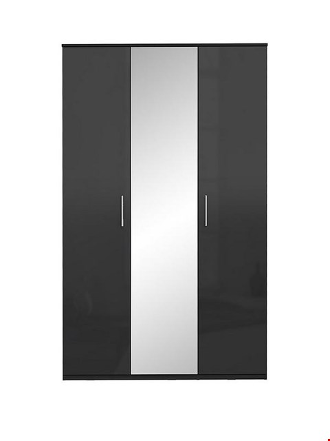Lot 2021 BRAND NEW BOXED WESTBURY BLACK GLOSS 3 DOOR WARDROBE (4 BOXES)