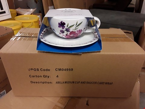 Lot 708 LOT OF 24 ABELA MEDIUM CUP AND SAUCERS CARD WRAPPED SETS
